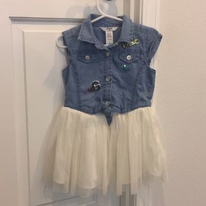 Guess girl's denim and tulle dress